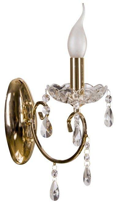 Kinkiet pojedynczy ścienny z kryształkami złoty Aurora Candellux 21-97609