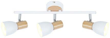 Lampa ścienna listwa 3X25W E14 biały + drewno ANABEL 93-61683
