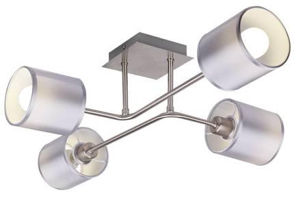 Lampa sufitowa satyna nikiel abażur z tkaniny 4x40w Sax Candellux 34-70685