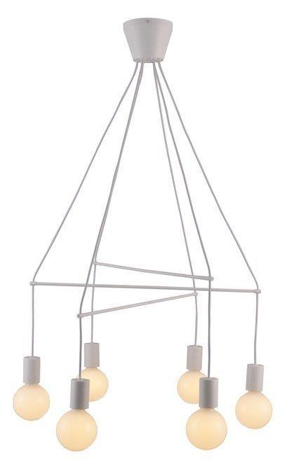 Lampa wisząca biała matowa 6x40W dwuobwodowa E27 Alto Candellux 36-70920