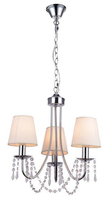 Lampa wisząca chromowa / beżowa żyrandol 3x40W Ruti Candellux 33-58713