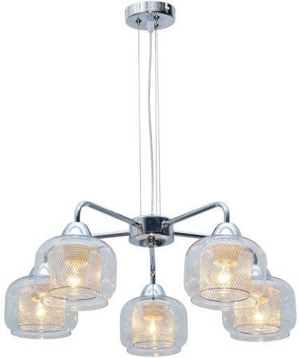Lampa wisząca chromowa klosz z koszykiem 5x40W Ray Candellux 35-67098
