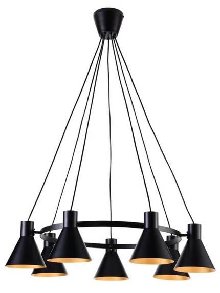 Lampa wisząca czarno-złota matowa sufitowa 7x40W More Candellux 37-71170