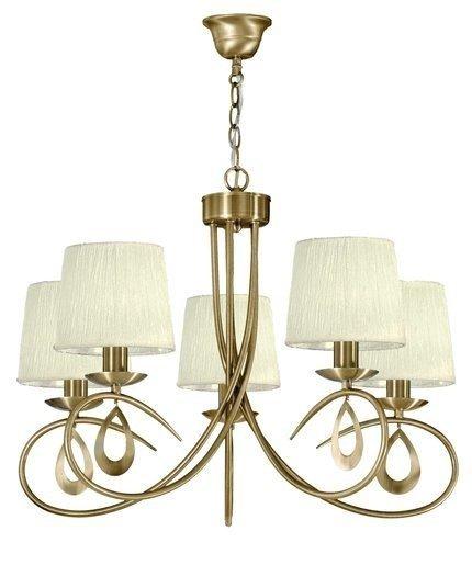 Lampa wisząca patyna / kremowy abażur tkany 5x40W Arnika Candellux 35-21694