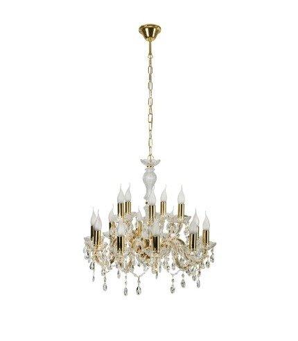 Lampa wisząca żyrandol z kryształkami złoty 15x40W Maria Teresa Candellux 30-95810