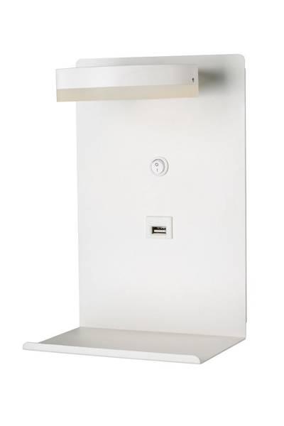 Kinkiet biały LED z półką na telefon ładowarka USB Compact Candellux 21-76052