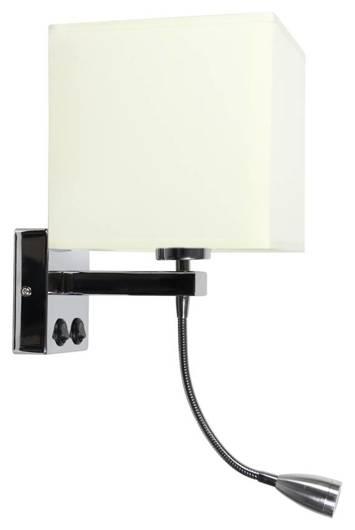 Lampa ścienna kinkiet chrom 1X40W LED abażur beż BOHO 21-58256