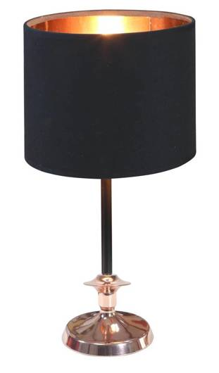 Lampa stołowa gabinetowa czarna/miedziana 60W E14 Violino 41-38784