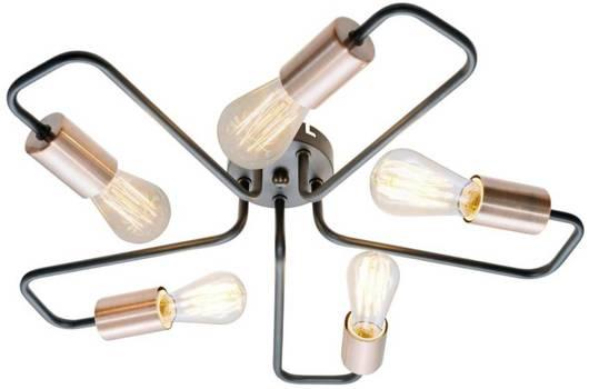 Lampa sufitowa czarna metalowa oprawka 5x60W Herpe Candellux 35-66930