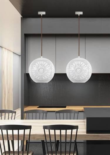 Lampa sufitowa wisząca 60W E27 ażurowy biały BENE 31-70586