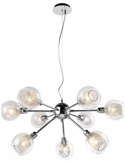 Lampa wisząca chromowa szklany klosz z koszyczkiem 9x40W Dixi Candellux 39-65018