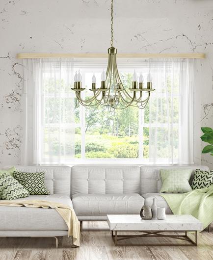 Lampa wisząca patyna regulowana żyrandol 8x40W Muza Candellux 38-69187