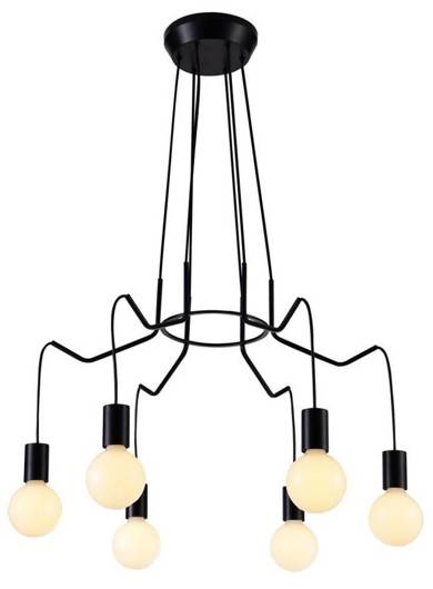 Lampa wisząca sufitowa czarna matowa oprawa 6x40W Basso Candellux 36-71033