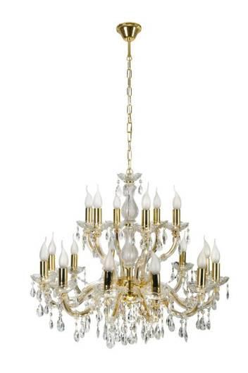 Lampa wisząca żyrandol z kryształkami złoty 18x40W Maria Teresa Candellux 30-94615