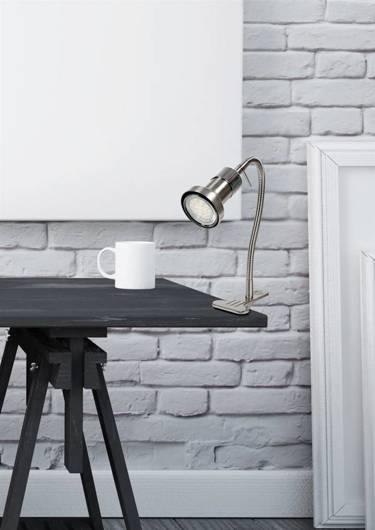 Lampka stołowa biurkowa klips satyna/chrom Arkon 41-60020