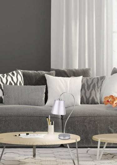 Lampka stołowa gabinetowa chrom abażur z tkaniny Luk Candellux 41-70760